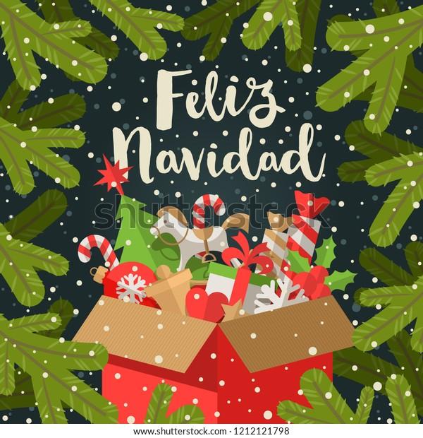 Christmas Wishes In Spanish.Feliz Navidad Christmas Greetings Spanish Calligraphy Stock