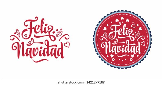Feliz navidad. Christmas. Noel. Christmas banner on different languages. Xmas lettering design Merry Christmas greeting card. Navidad Postcard in Spanish. Christmas banner. Xmas Background in Spain