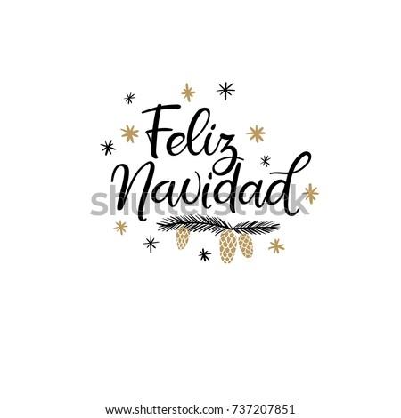 Feliz Navidad Hand Lettering Greeting Card Stock Vektorgrafik