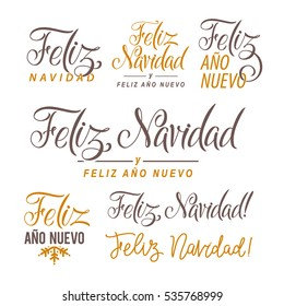 Feliz Navidad Hand Lettering Text Set. Greeting Card Design Template. Merry Christmas and Happy New Year Typography Label in spanish. Vector illustration EPS10