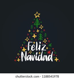 Feliz Navidad, handwritten phrase, translated from Spanish Merry Christmas. Vector spruce illustration on black background.
