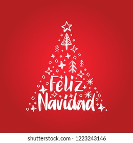 Feliz Navidad, handwritten phrase, translated from Spanish Merry Christmas. Vector New Year spruce illustration on red background.