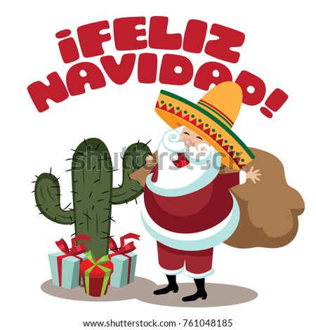 4f8e2eec282ef Feliz Navidad (Merry Christmas) Happy Holidays illustration with cartoon  cactus and Santa Claus wearing