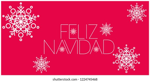 Feliz Navidad - Merry Christmas lettering written in spanish; hand drawn white letters on red background. Flat vector illustration for prints, decoration, cards, posters, seasonal design, promo, web.