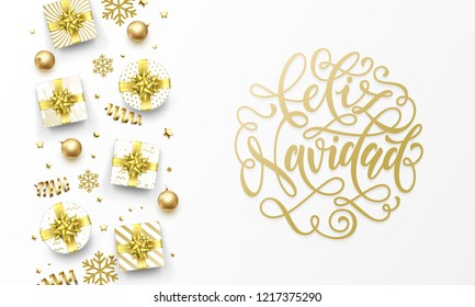 Feliz Navidad Merry Christmas Spanish golden greeting card, gold gifts, stars confetti and snowflakes glitter. Vector Spanish Navidad Christmas hand drawn calligraphy lettering text