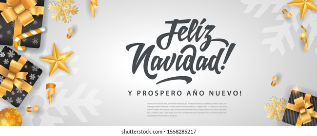 Feliz Navidad - Merry christmas in spanish language white flat card template glitter gold elements, snowflakes, stars and calligraphy