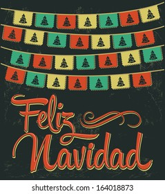 Feliz Navidad - Merry Christmas spanish text - Vector card