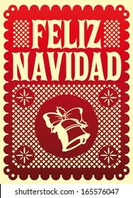 Feliz Navidad - Merry Christmas spanish text - Vector card