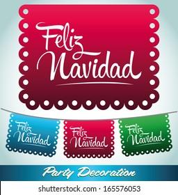 Feliz Navidad - Merry christmas spanish text - holiday vector decoration