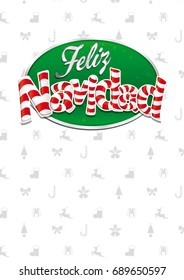 Feliz Navidad - Merry Christmas in Spanish language - White cover of greeting card with bows, reindeers, gifts and trees in background. Layout size: 21 cm x 29.7 cm. A4 size. Lettering design.