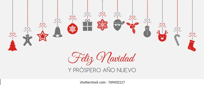 Feliz Navidad - Merry Christmas in Spanish. Concept of Christmas card with decoration. Vector.
