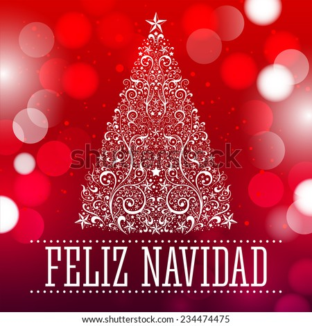 feliz navidad merry christmas spanish text card vector fantasy background