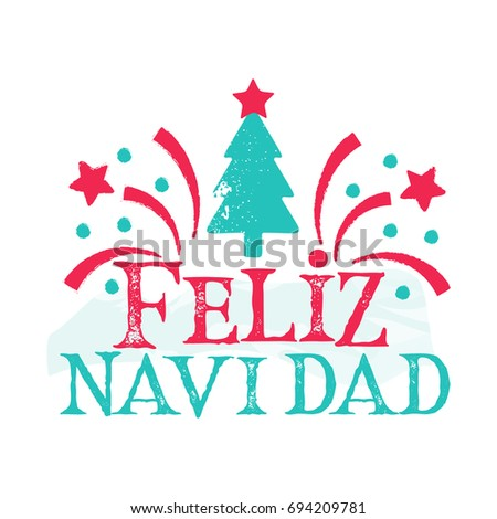 feliz navidad merry christmas spanish language happy new year card with tree and fireworks - Christmas Spanish