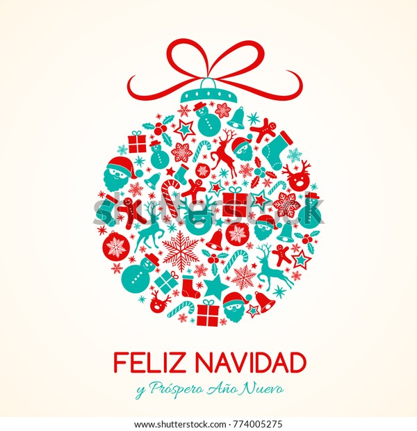 Christmas In Spanish.Feliz Navidad Merry Christmas Spanish Christmas Stock Vector