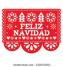 Feliz Navidad Papel Picado vector design, Mexican Xmas greeting card, red and white paper garland decoration pattern. Festive red party banner inspired by garlands in Mexico with text, Christmas trees