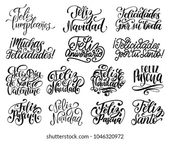 Feliz Navidad, Feliz Pascua, Feliz Cumpleanos translated from Spanish handwritten phrases Merry Christmas, Happy Easter, Happy Birhday etc. Vector calligraphy set on white background.