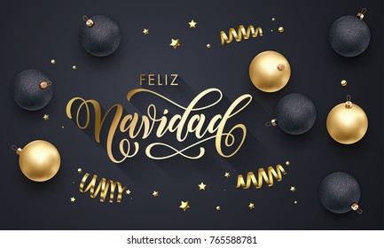 Feliz Navidad Spanish Merry Christmas golden decoration, hand drawn gold calligraphy font for greeting card black background. Vector Christmas or New Year holiday gold star shiny confetti decoration