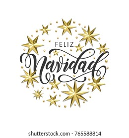 Feliz Navidad Spanish Merry Christmas golden decoration, calligraphy font for invitation or greeting card white background. Vector Christmas or New Year winter holiday gold star snowflake decoration