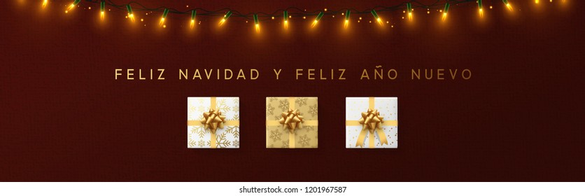 Feliz Navidad Spanish text. Merry Christmas background with gift boxes and realistic light garlands. Xmas banner. Festive illustration