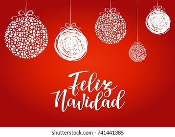 'Feliz navidad' Spanish typography lettering, red background. Holiday greetings Spanish quote isolated on white. Great for Christmas and New year cards, gift tags.