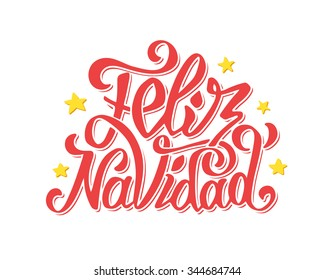 Feliz Navidad text lettering with stars isolated on white vector background. Typography for Merry Christmas greeting card, invitation or poster design in spanish