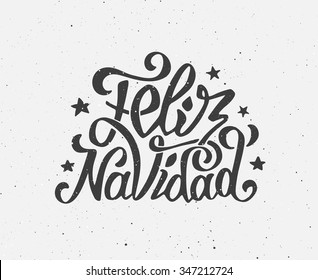 Feliz Navidad text on vintage greeting card design template with typography on white grunge paper texture. Retro letterpress poster for Merry Christmas. Festive vector background