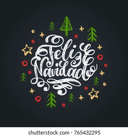 Feliz Navidad translated from spanish Merry Christmas hand lettering on stars and spruces background.. Happy Holidays typography for greeting card template or poster concept.