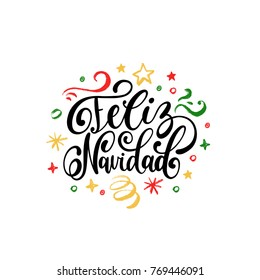 Feliz Navidad translated from spanish Merry Christmas hand lettering on stars and snowflakes background. Happy Holidays typography for greeting card template or poster concept.