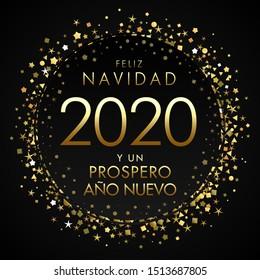 Feliz Navidad y un Prospero Nuevo spanish text. Translation: Merry Christmas and Happy 2020 new year, golden banner for seasonal holidays flyers, greetings and invitations, Vector Xmas cards