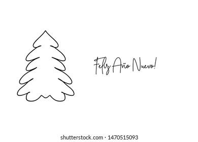 Feliz año nuevo Happy new year Spanish handwritten text with Christmas tree shape.