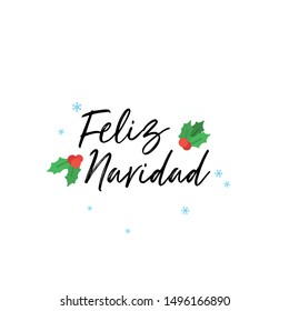 Feliz año nuevo (Happy New Year) written lettering. Isolated on white background. Vector illustration. - Vector