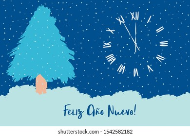 Feliz Año Nuevo Spanish text, Christmas tree with falling snow, snowdrift, New Year, winter scene, Xmas eve.