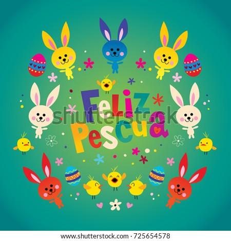 Feliz pascua happy easter spanish greeting stock vector royalty feliz pascua happy easter in spanish greeting card m4hsunfo