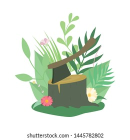 Felled Tree or Stump and Ax, Deforestation, Ecological Problem Vector Illustration