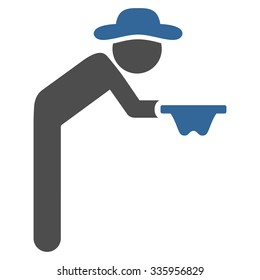 Fellow Beggar vector icon. Style is bicolor flat symbol, cobalt and gray colors, rounded angles, white background.