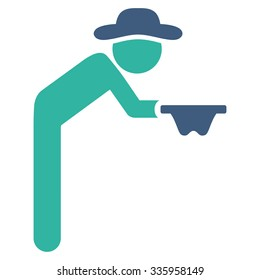 Fellow Beggar vector icon. Style is bicolor flat symbol, cobalt and cyan colors, rounded angles, white background.