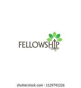 fellowship church cross in plant shape roots are in soil vector logo design