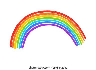 Felt pen child drawing of rainbow arc. Vector illustration isolated on white background.