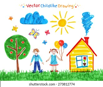 Felt pen child drawings vector set.