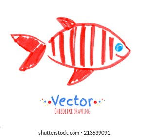 Felt pen childlike drawing of fish. Vector illustration. Isolated.