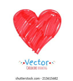 Felt pen childlike drawing of heart. Vector illustration. isolated.
