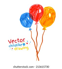 Felt pen childlike drawing of. Vector illustration. isolated.
