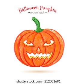 Felt pen drawing of Halloween pumpkin. Vector illustration.