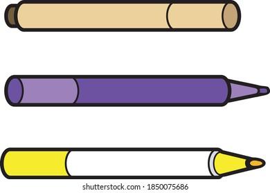 dessin animé sur des stylos à pointe feutrée, illustration vectorielle sous différents angles. Contour et remplissage sur des couches séparées pour une recoloration facile