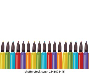 felt-tip pens or markers for drawing vector illustration