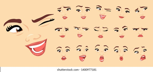 Female abstract cartoon face expression variations, emotions collection set #1, vector illustration