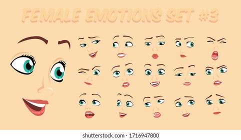 Female abstract cartoon face expression variations, emotions collection set #3, vector illustration