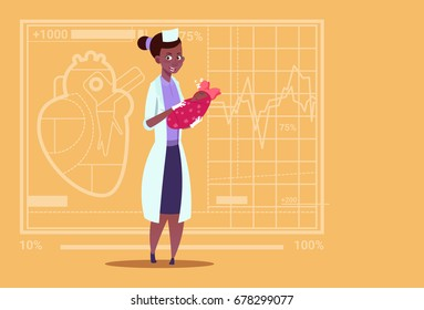 Female African American Doctor Hold Newborn Baby Girl Medical Maternity Clinics Worker Hospital Flat Vector Illustration