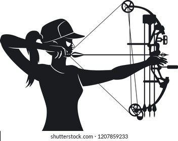 female aiming with compound bow