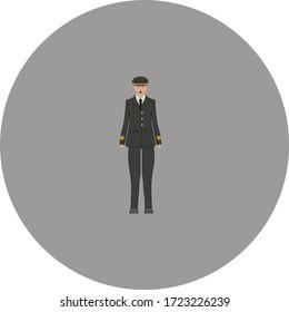 female airplane pilot. illustration for web and mobile design.